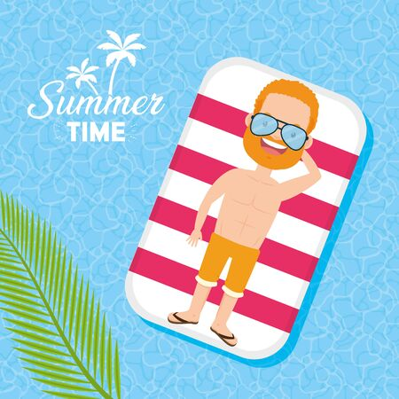 man wear sunglasses with lifebuoy in the pool summer time vector illustration Illustration