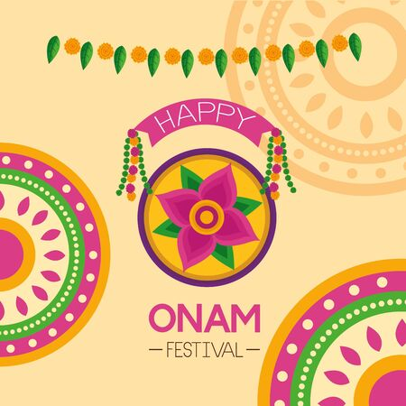 happy onam festival flower hindu celebration pennants vector illustration