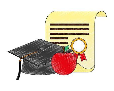 graduation hat school diploma and apple vector illustration