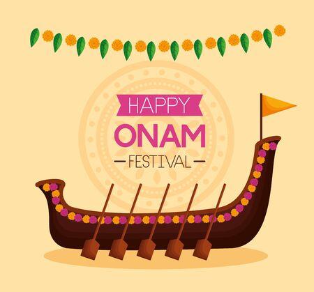 happy onam festival boat race pennants decoration vector illustration  イラスト・ベクター素材