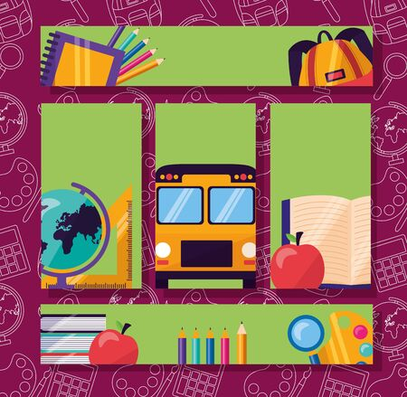 back to school banners bus map book bag apple color pencils