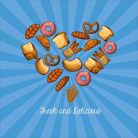 Heart of bread types design, Bakery food shop traditional quality style and breakfast theme Vector illustration