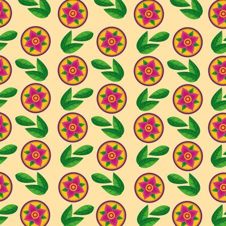 cute flowers leaves onam celebration background vector illustration