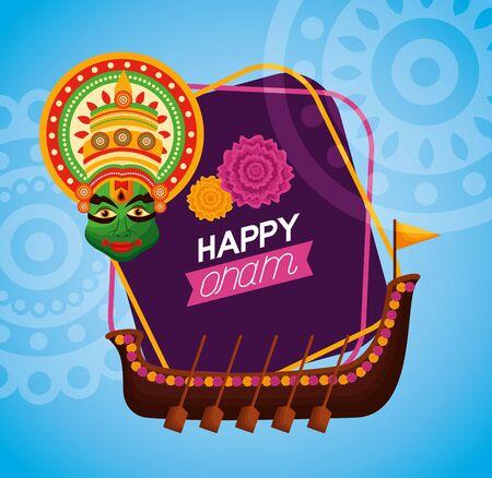 happy onam festival boat race kathakali vector illustration  イラスト・ベクター素材