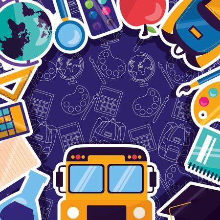 back to school bus notebook calculator ruler bag apple frame