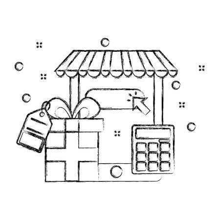online shopping cellphone gift calculator commerce vector illustration Stock Illustratie