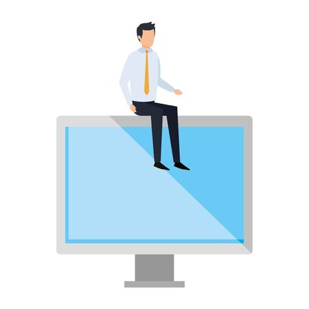 elegant businessman sitting in computer display vector illustration design Illustration