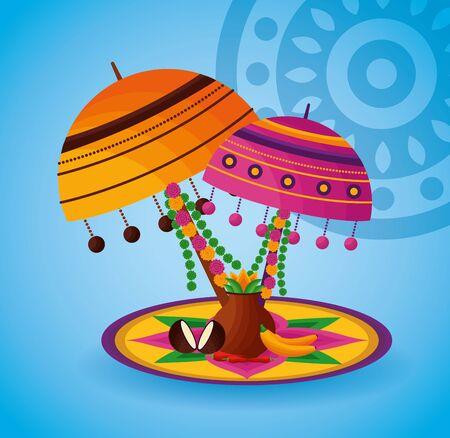 lamps decoration onam festival celebration vector illustration