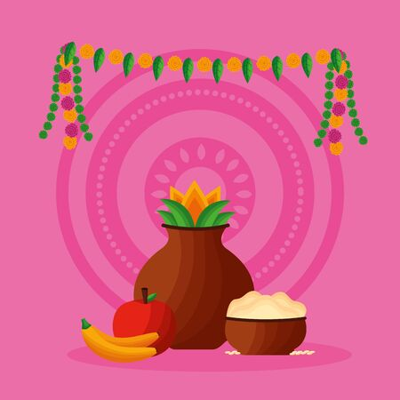 onam festival pennants coconut fruits vector illustration