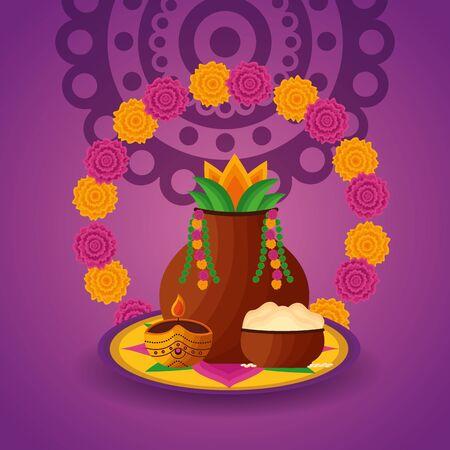 onam festival flowers fruits celebration vector illustration  イラスト・ベクター素材