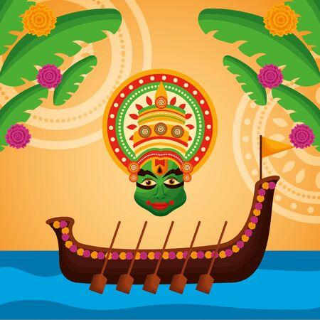beach boat race kathakali onam festival vector illustration