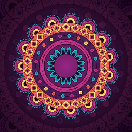 mandala vintage decorative ethnic element purple pattern vector illustration