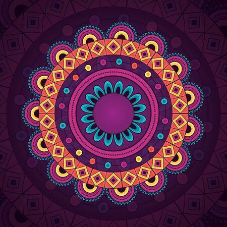 mandala vintage decorative ethnic element purple pattern vector illustration
