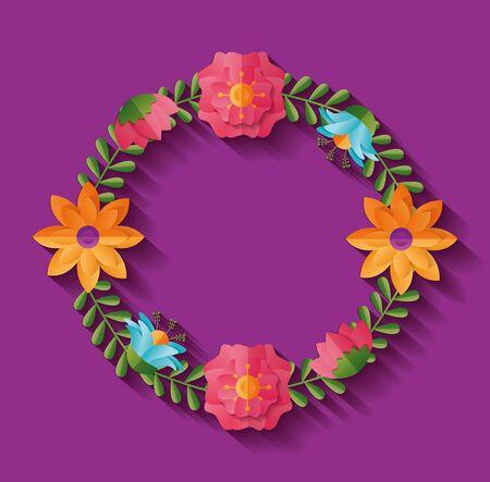 flower wreath decoration ornament vector illustration design Archivio Fotografico - 132220242