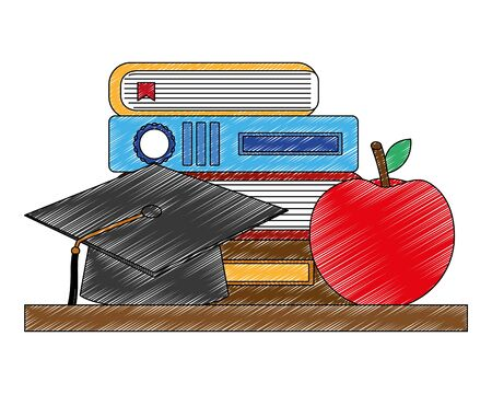 school stack books graduation hat and apple vector illustration