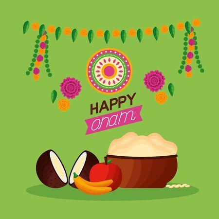 coconuts fruits happy onam festival vector illustration  イラスト・ベクター素材