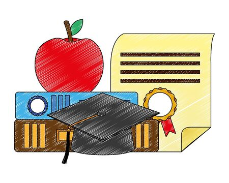 graduation hat certificate apple on books vector illustration