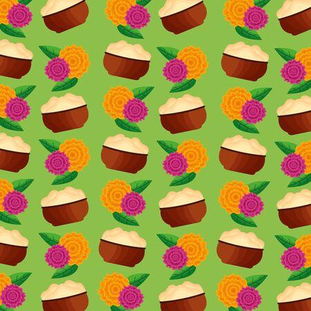food flowers decoration onam festival background vector illustration