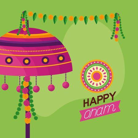 happy onam pennants decoration celebration vector illustration