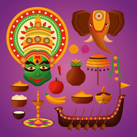 kathakali boat race candles elephant onam festival vector illustration