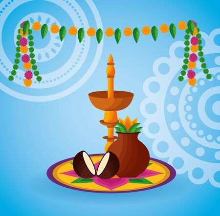 onam festival pennants candle coconuts vector illustration