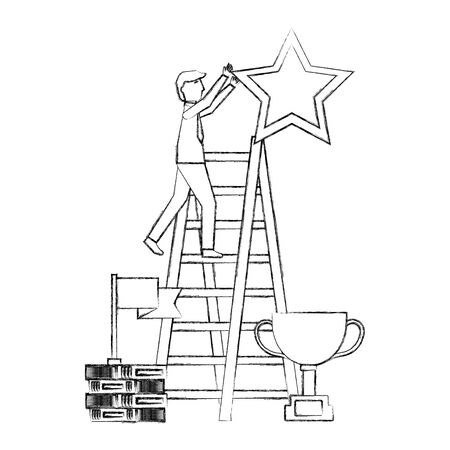 businesssman on stairs with star trophy and flag vector illustration
