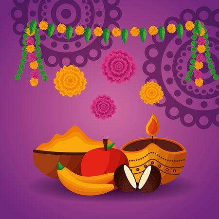 onam festival food pennants flowers decoration vector illustration