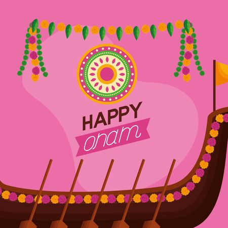 boat race pennants happy onam festival vector illustration