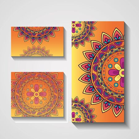 ornamental ethnic arabesque banner mandala yellow design vector illustration