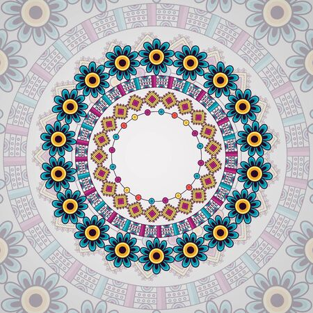 mandala vintage decorative ethnic element floral geometric vector illustration Çizim