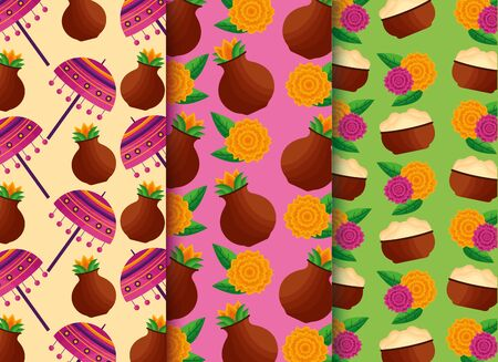 onam festival banners fruits flowers background vector illustration