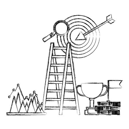 business success trophy stairs target flag search chart vector illustration