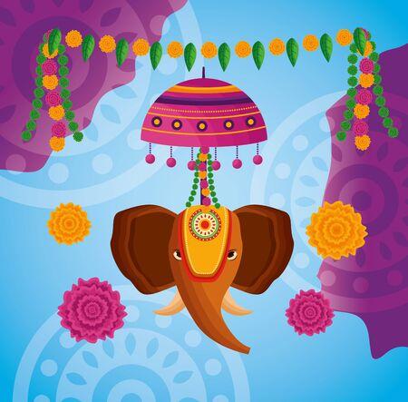 elephant pennants onam festival flowers vector illustration