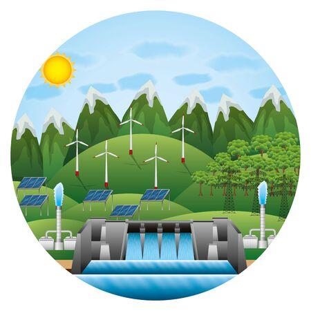 illustrazione vettoriale di paesaggio geotermico delle turbine eoliche idroelettriche eco-compatibili Vettoriali