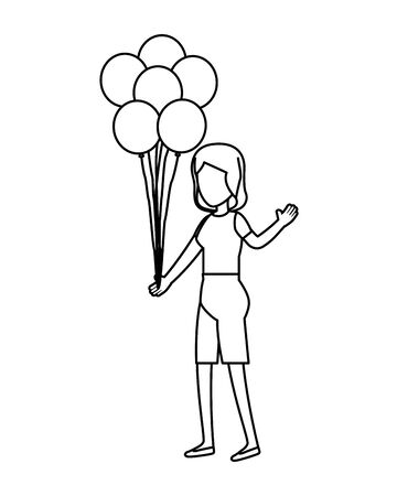 woman with balloons helium floating vector illustration design