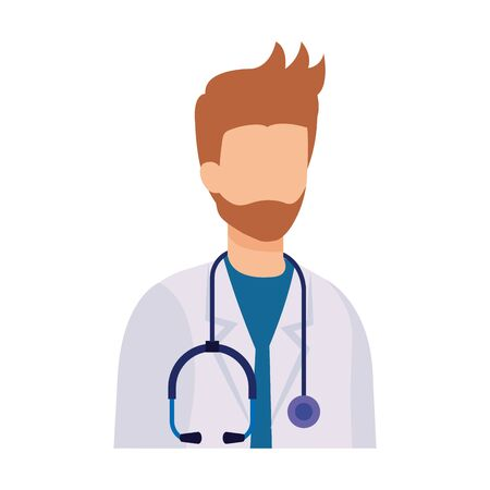 professional doctor with stethoscope character vector illustration design Фото со стока - 130572383