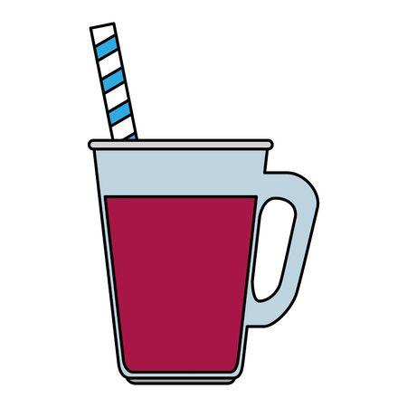 jar with beverage and straw vector illustration design