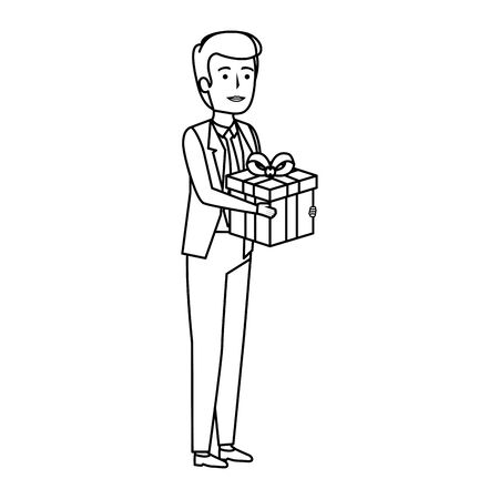 young businessman with gift box vector illustration design