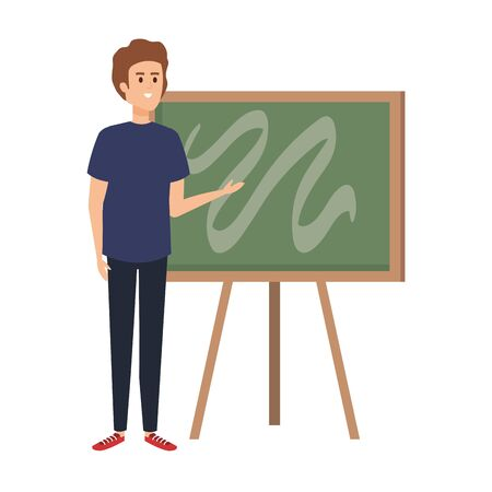 young teacher male with chalkboard character vector illustration design