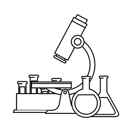 tubes test in holder with microscope vector illustration design Çizim