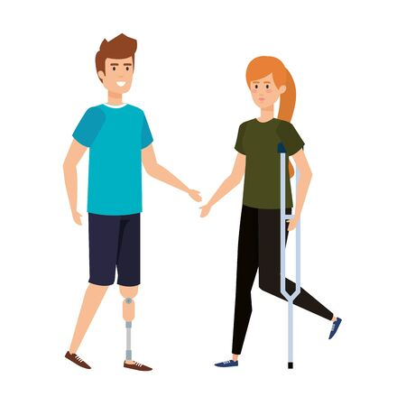 woman in crutch and man with prosthesis vector illustration design Иллюстрация