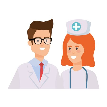 couple of professionals doctor and nurse characters vector illustration design Фото со стока - 130599014