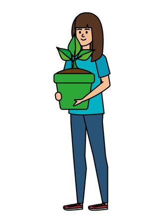beautiful woman lifting houseplant in pot vector illustration design