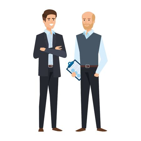 couple of businessmen avatars characters vector illustration design Illustration