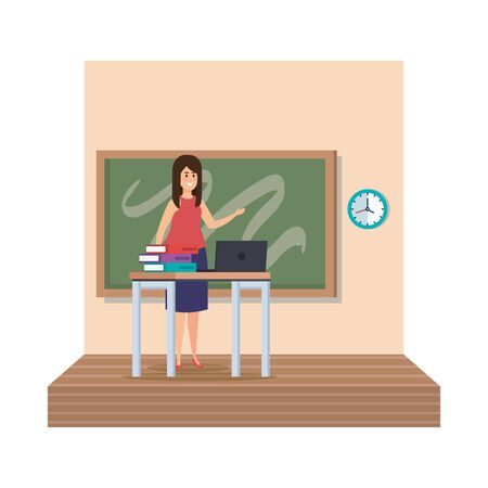 teacher female in desk with laptop and books classroom scene vector illustration Иллюстрация