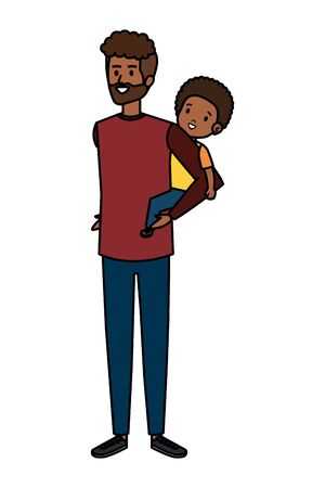 afro father with son characters vector illustration design