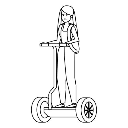 young woman in folding e-scooter vector illustration design