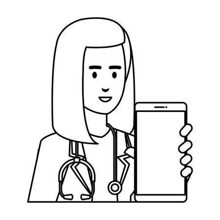professional female doctor with smartphone telemedicine vector illustration design