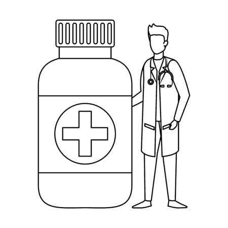 professional doctor with stethoscope and bottle drugs vector illustration design