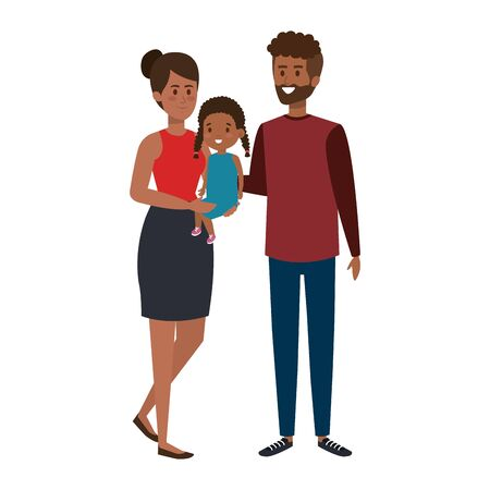 afro parents couple with daughter characters vector illustration design Illustration